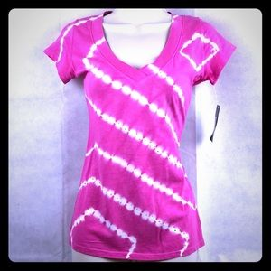 INC Pink & White Tie Dyed top with silver studs PS